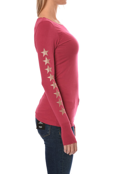 Hard Tail Forever - Long Sleeve Thumbhole w/Rose Gold Sleeve Stars (SL-143-507, Dragon Fruit w/Rose Gold Stars) alt view 1