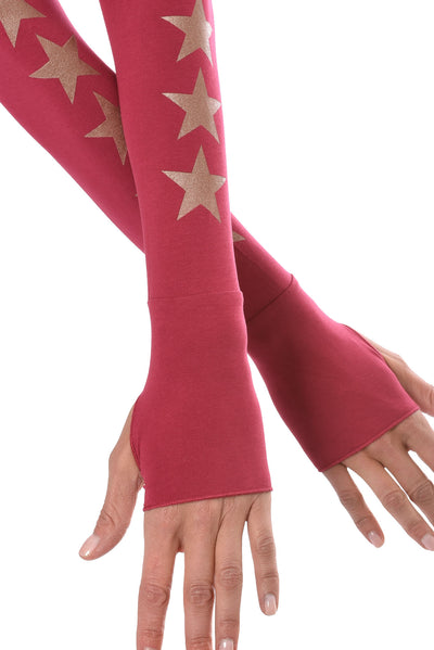 Hard Tail Forever - Long Sleeve Thumbhole w/Rose Gold Sleeve Stars (SL-143-507, Dragon Fruit w/Rose Gold Stars) alt view 3