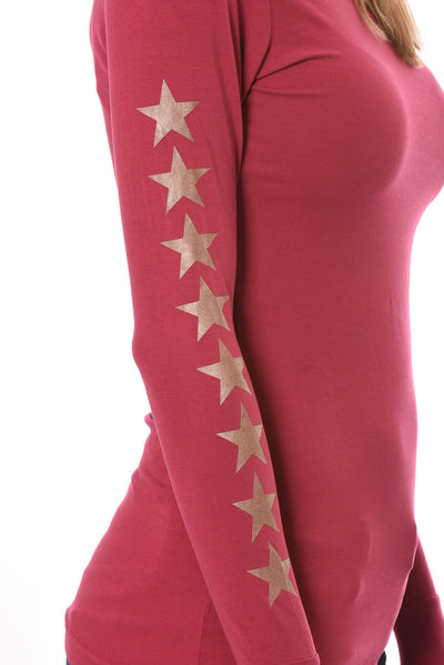 Hard Tail Forever - Long Sleeve Thumbhole w/Rose Gold Sleeve Stars (SL-143-507, Dragon Fruit w/Rose Gold Stars) alt view 4