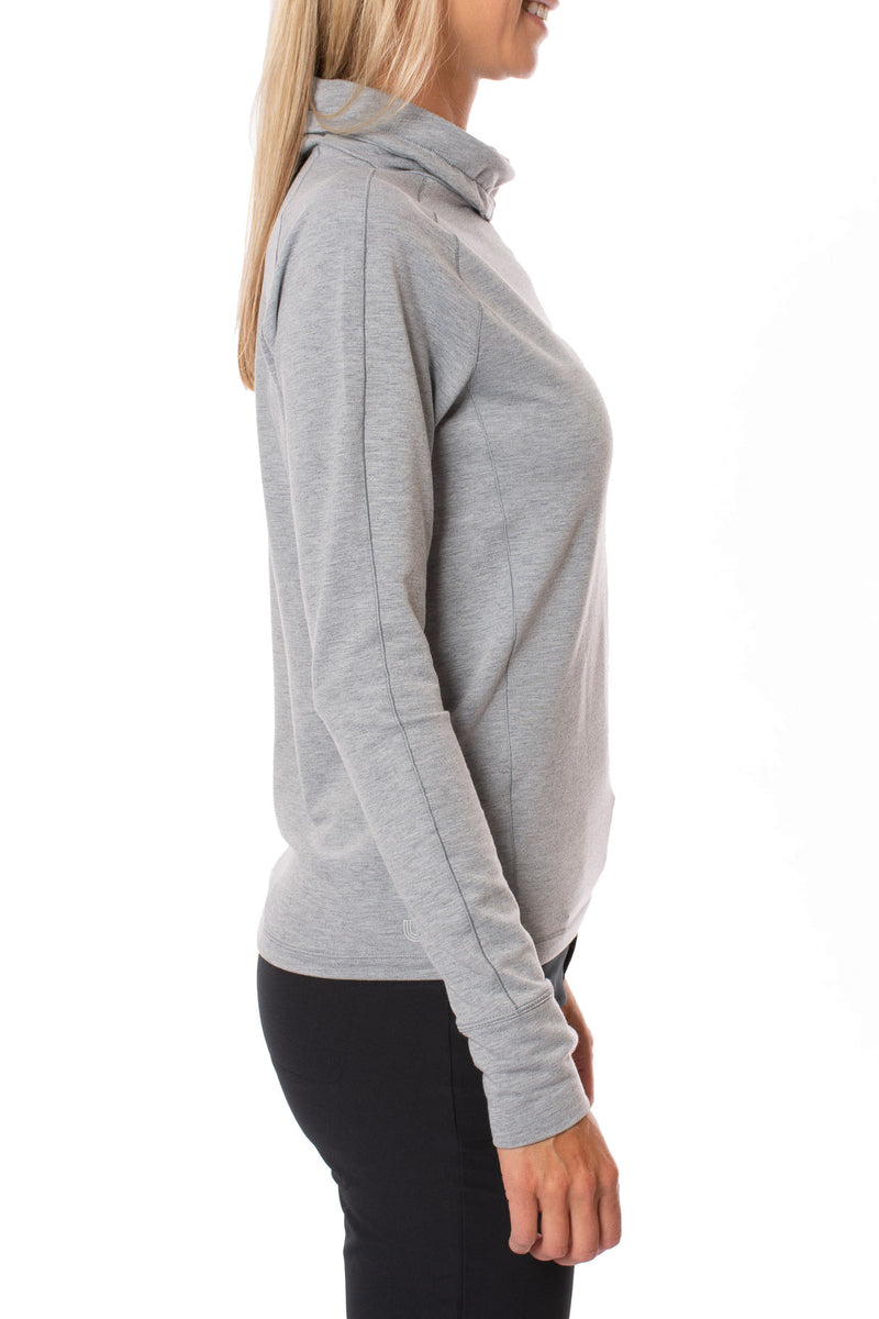 Live Out Loud Every Day - Crescent Snod Draw String Neck Long Sleeve (LSW3285, Gray)