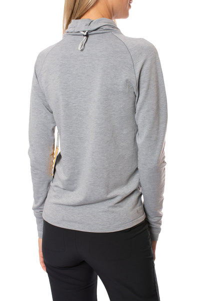 Live Out Loud Every Day - Crescent Snod Draw String Neck Long Sleeve (LSW3285, Gray) alt view 2