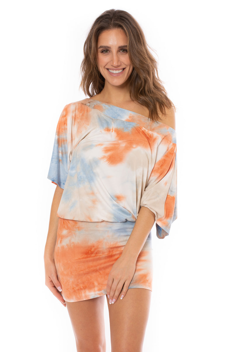 Veronica M. - Short Sleeve Drop Waist Dress (DSS-342, Creamsicle Tie-Dye)