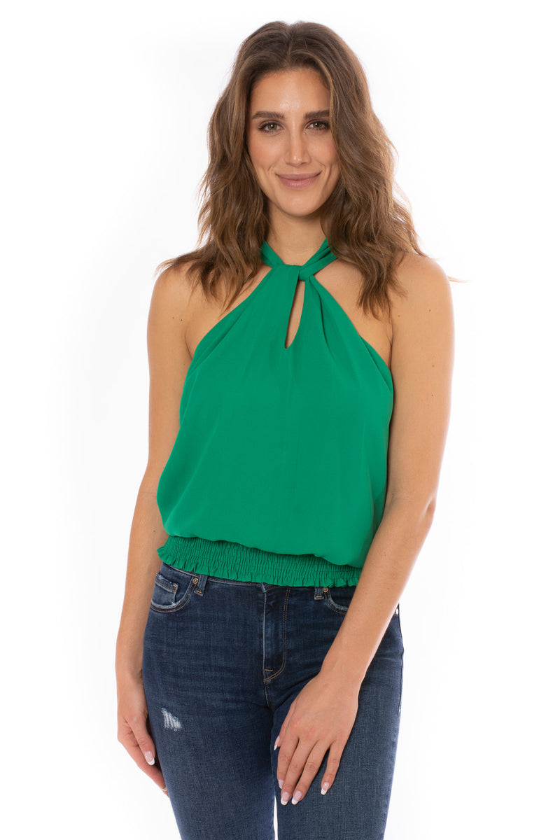 Veronica M. - Twst Smck Band Top (TF-1799, Kelly Green)