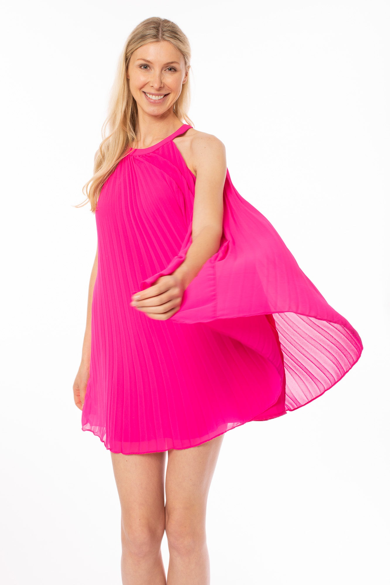 To The Loyal - Double Layered Pink Pleated Dress W/Neck Clasp (THS0786, Pink)