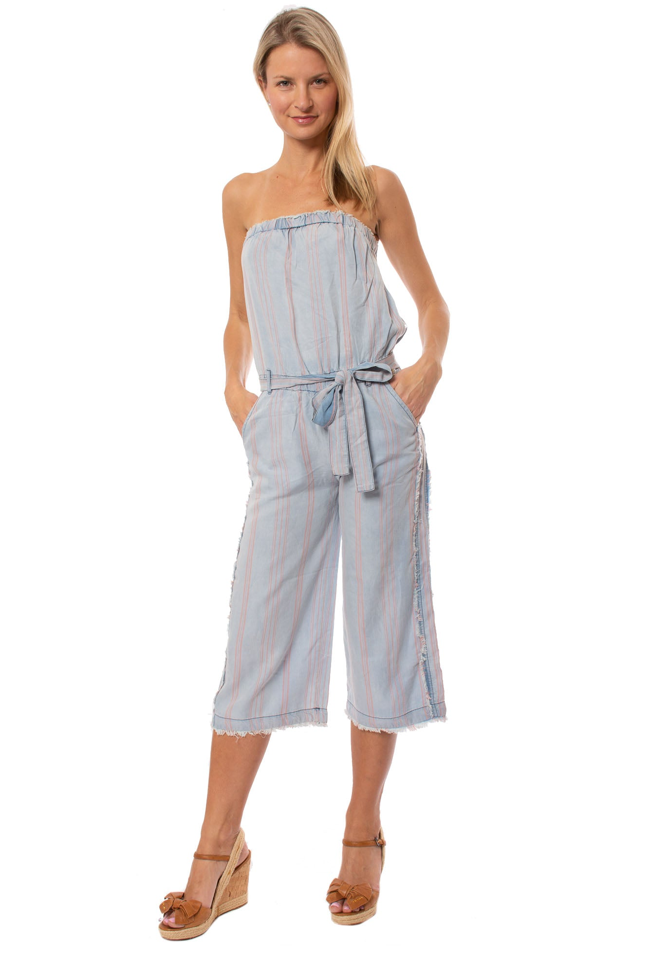 Vintage Havana - Stripe Jumpr W Tie Waist Band (CC7291, Faded Blue)
