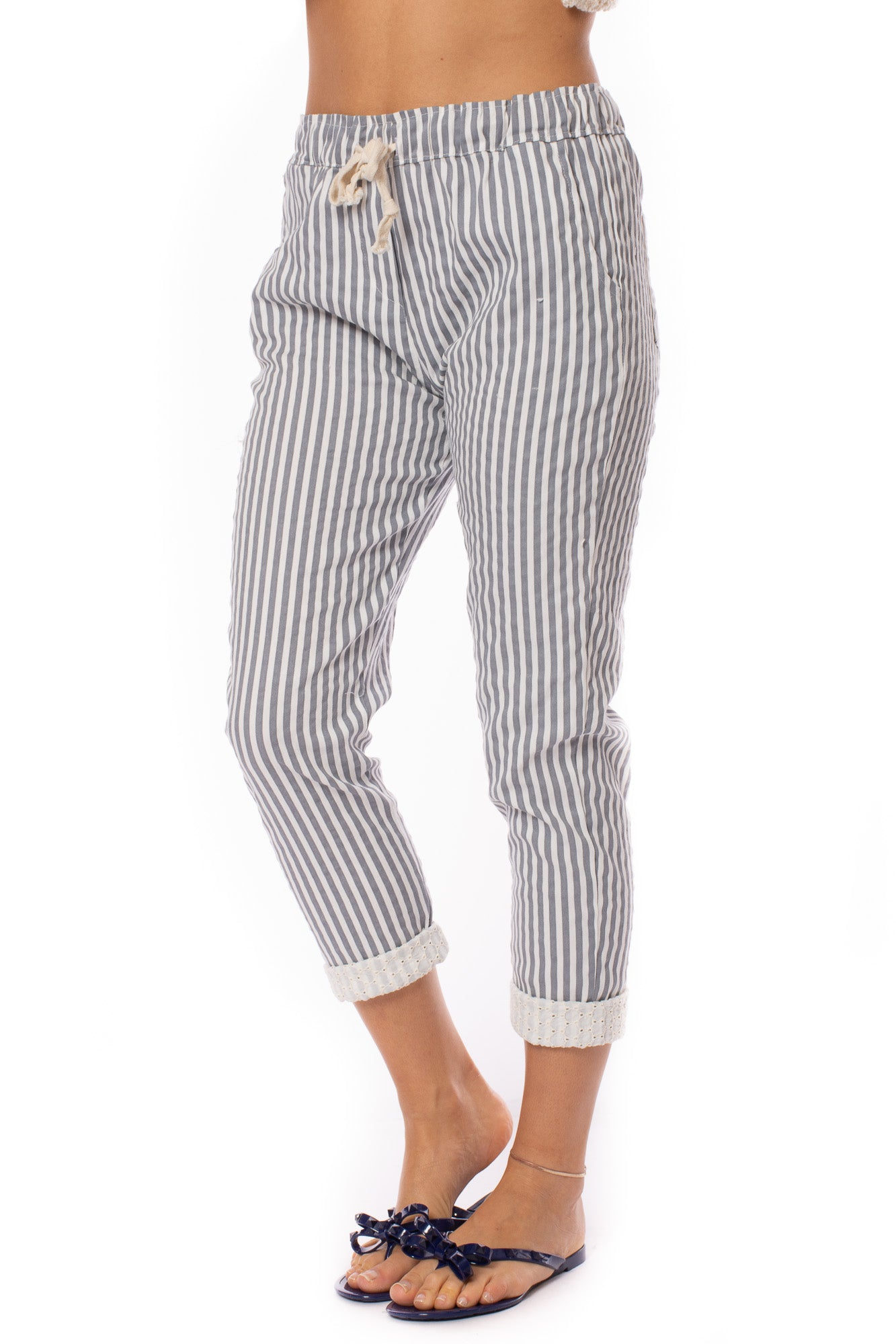 Brand Bazaar - Drawstring Stripe Capri Pants (stripe pant, Grey Stripe)