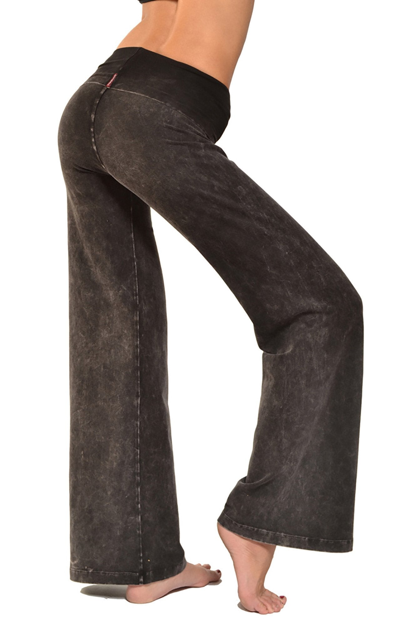 Hard Tail Forever - Wide Leg Roll Down Pants (W-326, Black Mineral Wash)