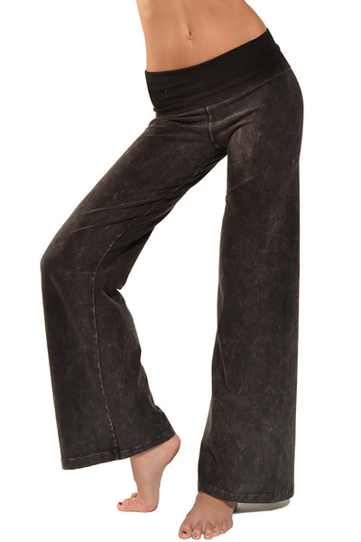 Hard Tail Forever - Wide Leg Roll Down Pants (W-326, Black Mineral Wash) alt view 5