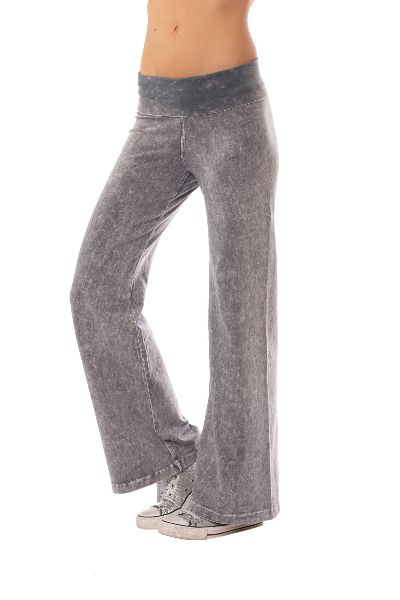 Wide Leg Roll Down Pants by Hard Tail Forever Style W-326, Mineral Wash MW11