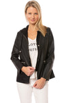 Love Token - Pleather Jacket W/Insert Zip Hoodie (LT100-34, Black)