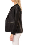 Love Token - Pleather Jacket W/Insert Zip Hoodie (LT100-34, Black) alt view 1