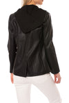 Love Token - Pleather Jacket W/Insert Zip Hoodie (LT100-34, Black) alt view 2
