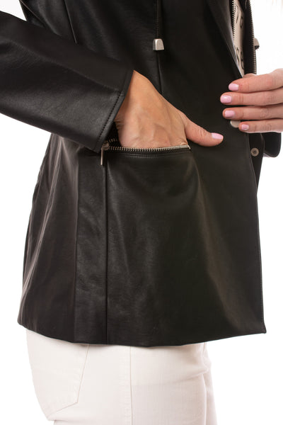 Love Token - Pleather Jacket W/Insert Zip Hoodie (LT100-34, Black) alt view 3