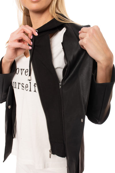 Love Token - Pleather Jacket W/Insert Zip Hoodie (LT100-34, Black) alt view 4