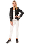 Love Token - Pleather Jacket W/Insert Zip Hoodie (LT100-34, Black) alt view 7