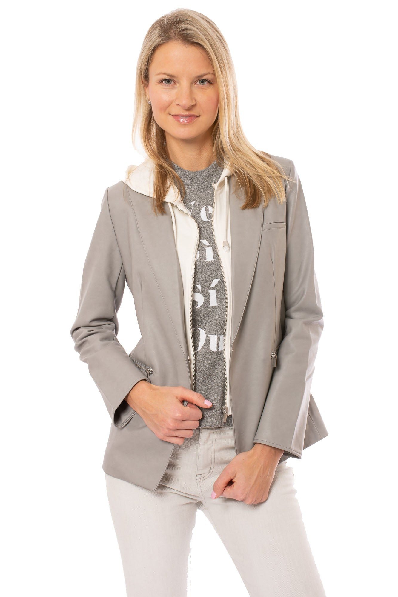 Love Token - Owen Sleek Hooded Pleather Blazer Coat (LT100-34, Gray)