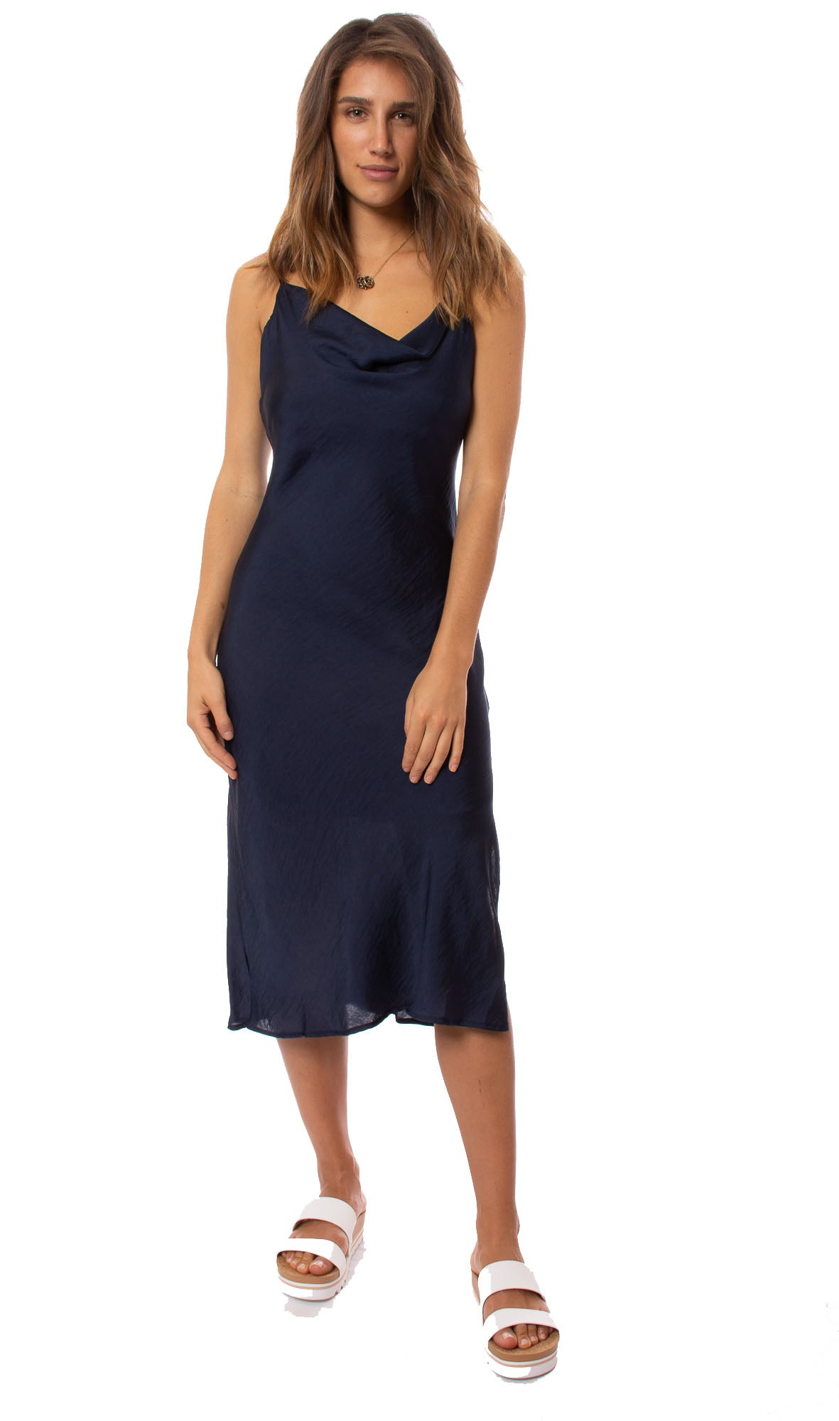 Veronica M. - Bias Midi Dress (DL-990, Navy)