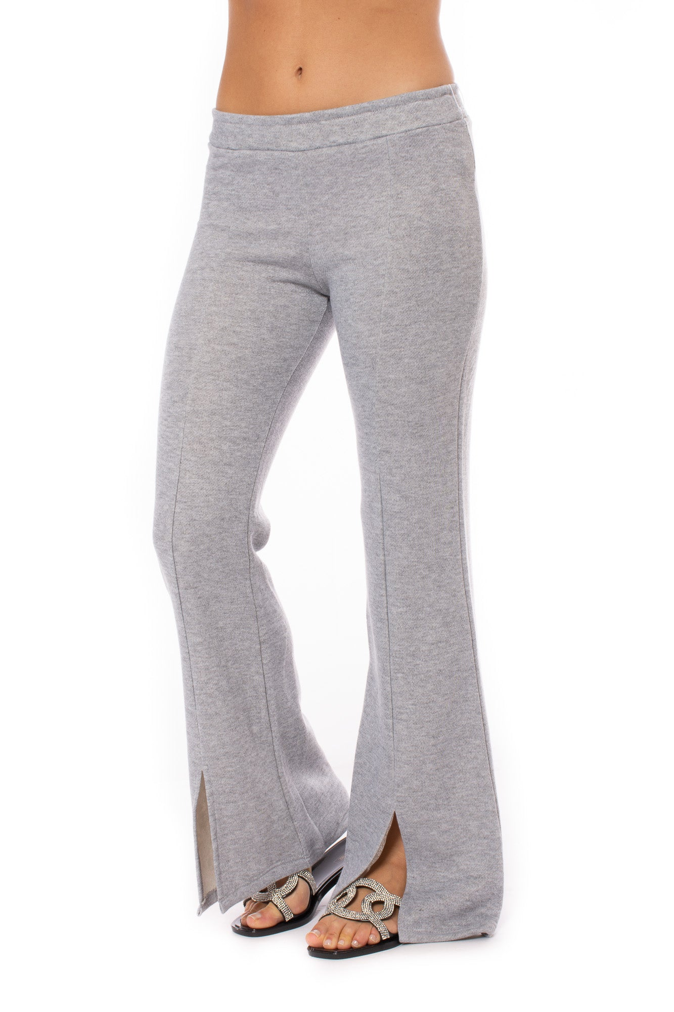 Six/Fifty - Front Slit Flare Sweatpant (SF1264, Grey)