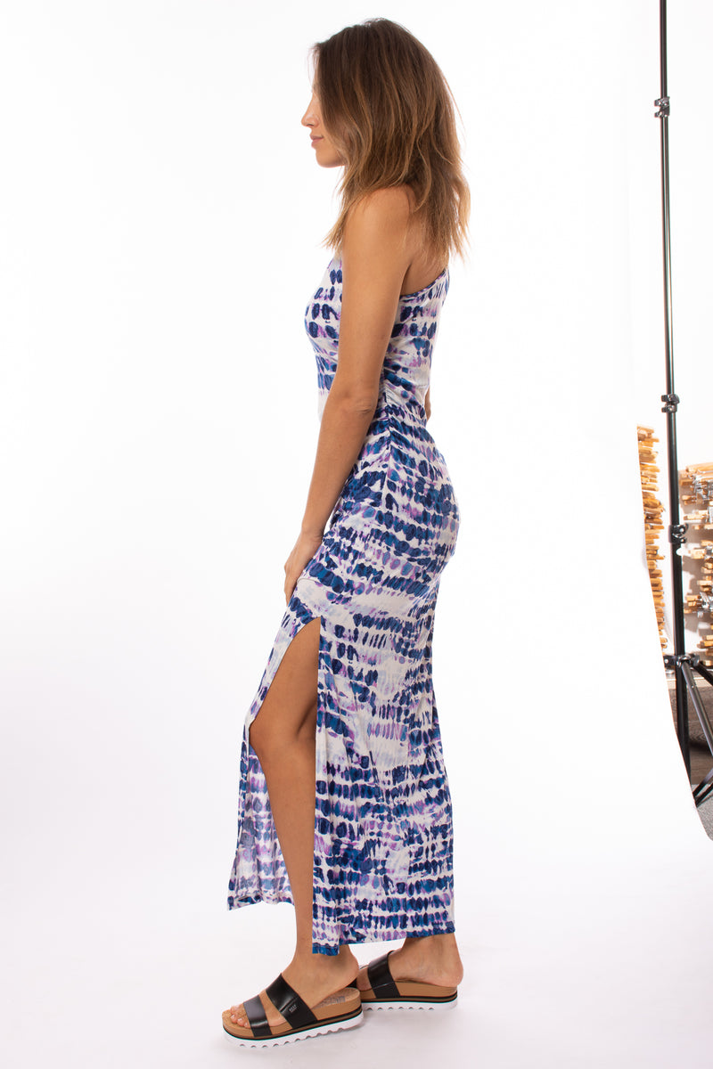 Hippie Guilt - Patricia Tie-Dye Long Dress (HD3002, Blue/Purple/White Tie-Dye)