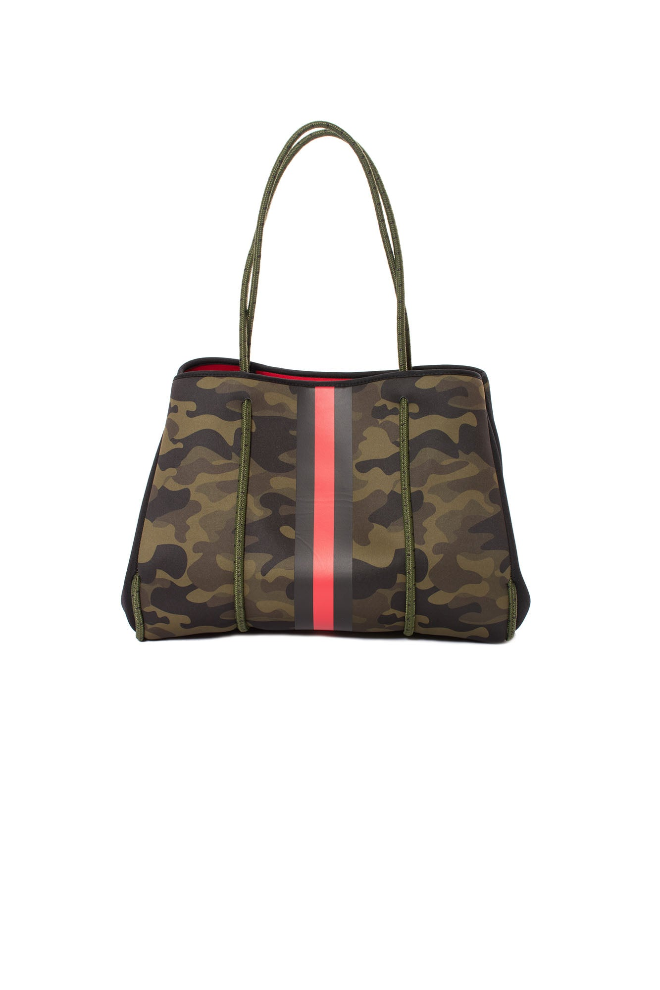 Haute Shore - Greyson Brat2 Neoprene Tote Bag w/Zipper Wristlet Inside (Greyson, Camo Gren w/Black & Red Stripe)