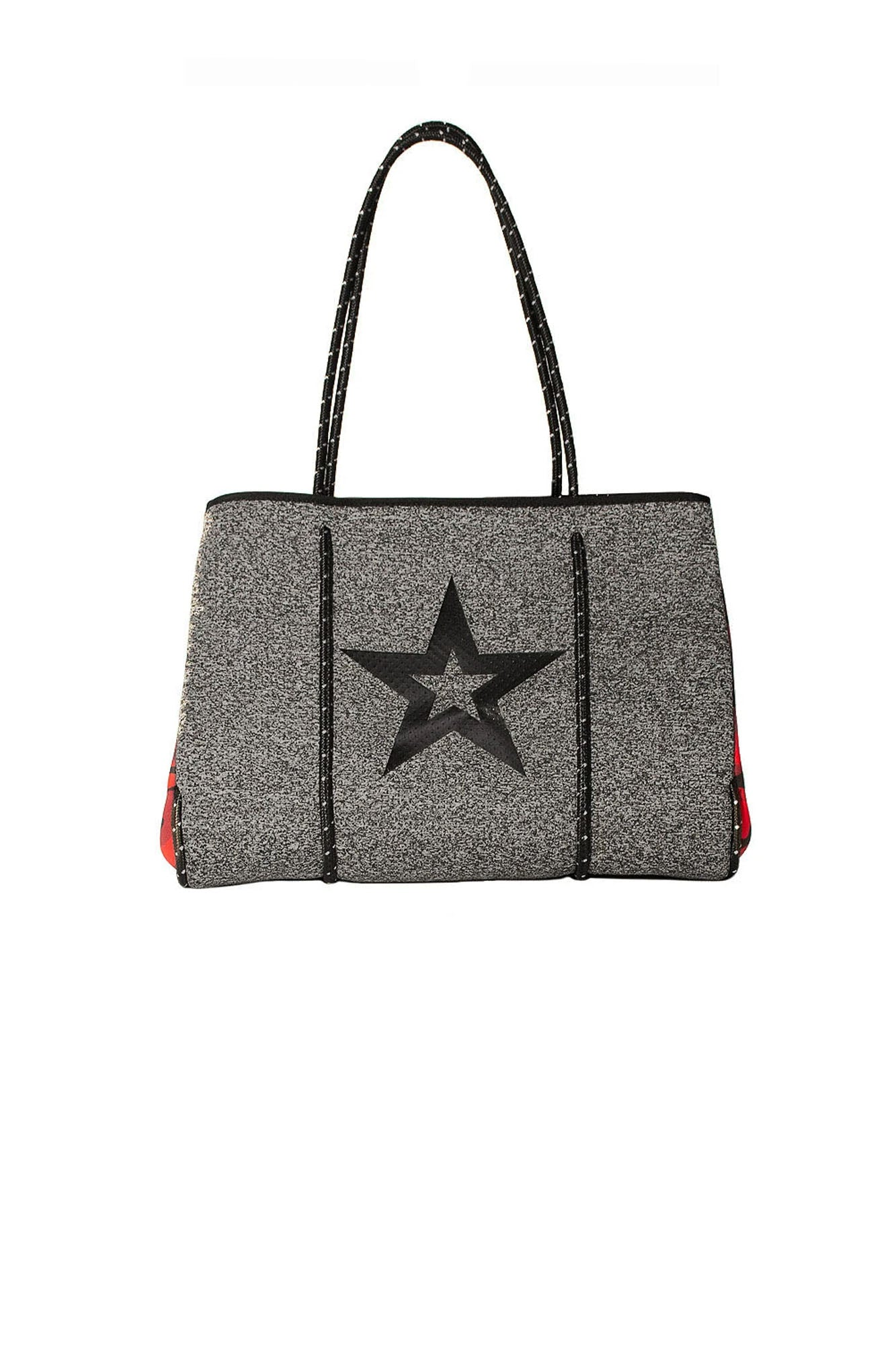 Haute Shore - Brave Neoprene Tote Bag w/Zipper Wristlet Inside (Greyson, Charcoal Marle/Black Star w/Red Camo Sides)