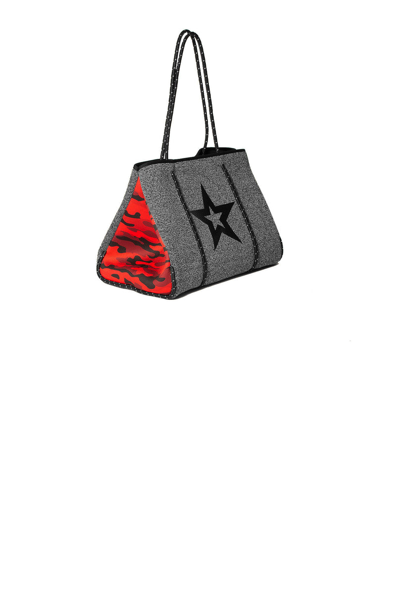 Haute Shore - Greyson Brave Neoprene Tote Bag w/Zipper Wristlet Inside (GREYSON, Charcoal Marle/Black Star w/Red Camo Sides)