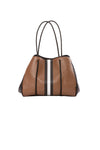 Haute Shore - Greyson Milan Neoprene Tote Bag w/Zipper Wristlet Inside (Milan, Saddle Brown w/Black & White Stripe)