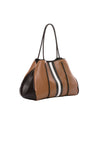 Haute Shore - Greyson Milan Neoprene Tote Bag w/Zipper Wristlet Inside (Milan, Saddle Brown w/Black & White Stripe) alt view 1