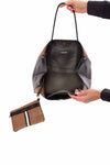 Haute Shore - Greyson Milan Neoprene Tote Bag w/Zipper Wristlet Inside (Milan, Saddle Brown w/Black & White Stripe) alt view 3