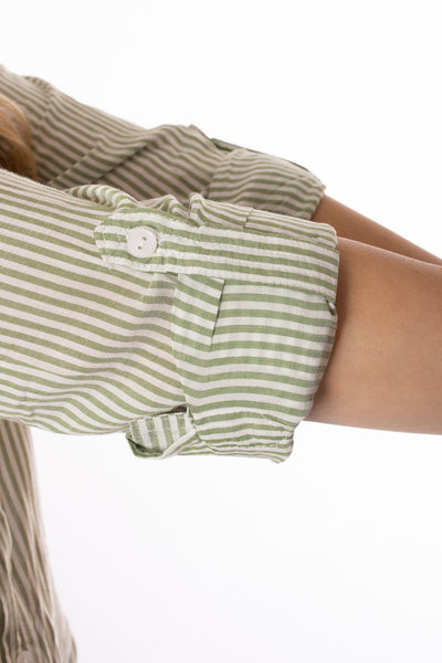 Velvet Heart - Elisa Roll Tab Sleeve (2pq-20619, Green & Cream Stripes) alt view 4