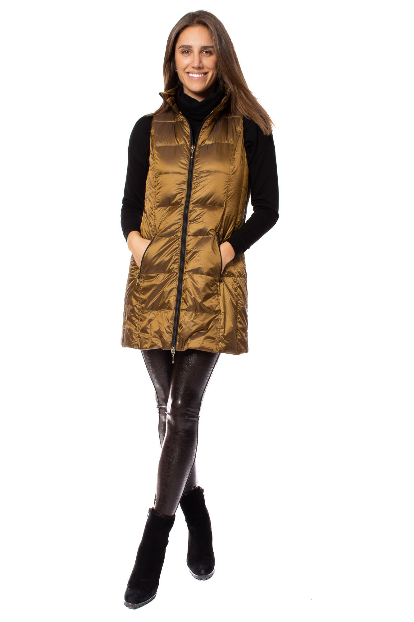 Anorak - Long Puffer Down Vest (50171IN, Bronze)