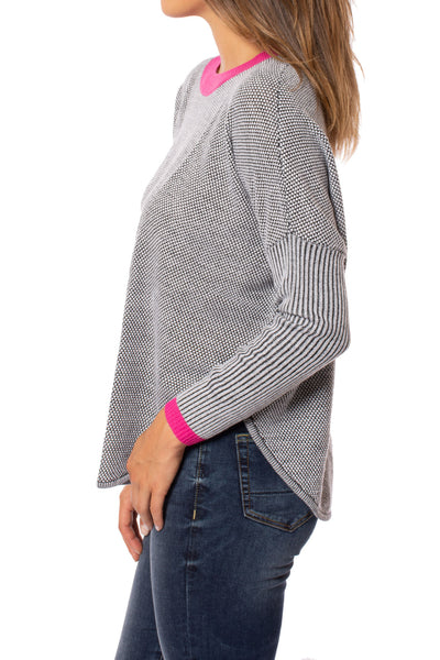 Zaket & Plover - Crew Neck Long Sleeve Sweater (ZW209OU, Grey/Pink/Black) alt view 1
