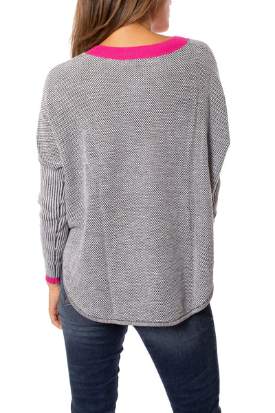 Zaket & Plover - Crew Neck Long Sleeve Sweater (ZW209OU, Grey/Pink/Black) alt view 2