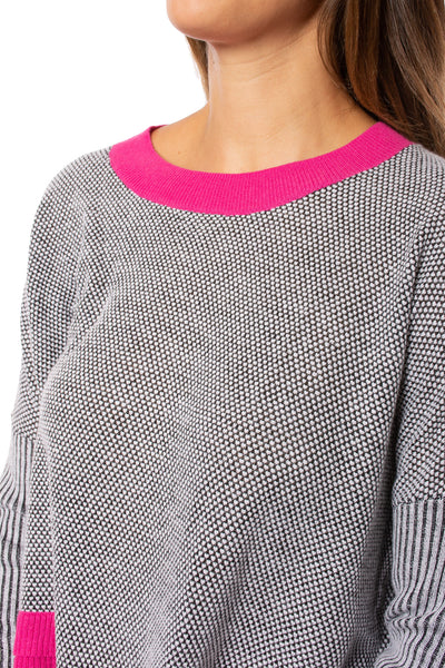 Zaket & Plover - Crew Neck Long Sleeve Sweater (ZW209OU, Grey/Pink/Black) alt view 5