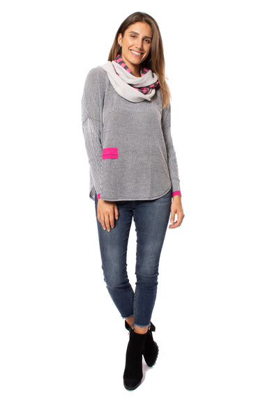 Zaket & Plover - Crew Neck Long Sleeve Sweater (ZW209OU, Grey/Pink/Black) alt view 7