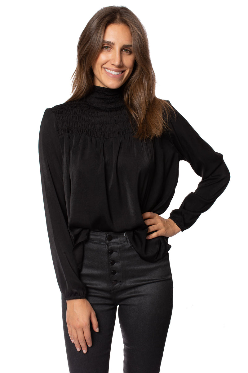 Elan - High Neck Long Sleeve Ruffle Blouse (PC10433, Black)