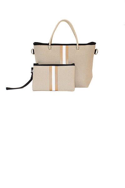 Haute Shore - Ryan Femme Mini Tote (FEMME, Tan Canvas w/White/Bronze Stripe) alt view 2