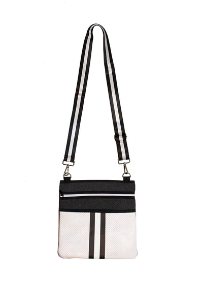 Haute Shore - Peyton Crossbody Classic2 (PC2, Black Denim/White Coated w/Black & White Stripe)