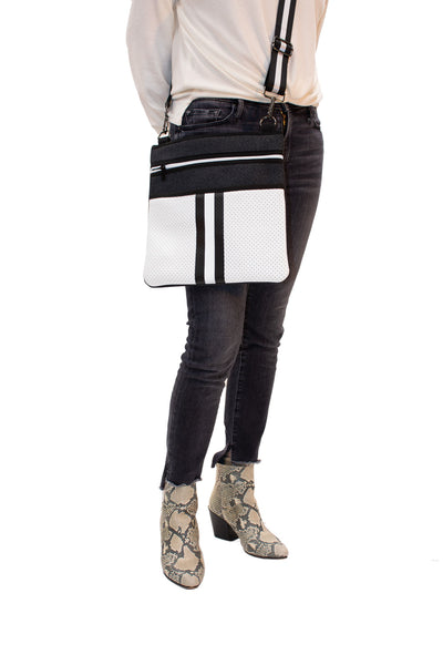Haute Shore - Peyton Crossbody Classic2 (PC2, Black Denim/White Coated w/Black & White Stripe) alt view 1