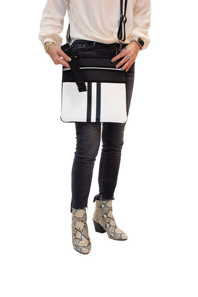 Haute Shore - Peyton Crossbody Classic2 (PC2, Black Denim/White Coated w/Black & White Stripe) alt view 2