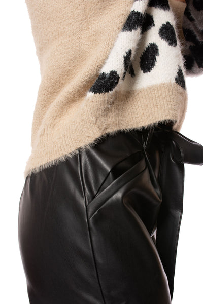 Elan - Fuzzy Long Sleeve Sweater (SWP10505, Tan) alt view 3