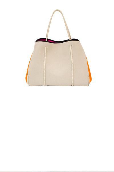 Haute Shore - Greyson Capri Neoprene Tote Bag w/Zipper Wristlet Inside (CAPRI, Tan Canvas w/Orange Sides)