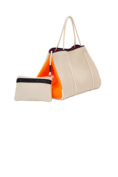 Haute Shore - Greyson Capri Neoprene Tote Bag w/Zipper Wristlet Inside (CAPRI, Tan Canvas w/Orange Sides) alt view 3