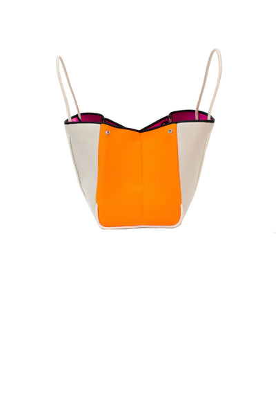Haute Shore - Greyson Capri Neoprene Tote Bag w/Zipper Wristlet Inside (CAPRI, Tan Canvas w/Orange Sides) alt view 4