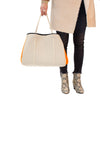 Haute Shore - Greyson Capri Neoprene Tote Bag w/Zipper Wristlet Inside (CAPRI, Tan Canvas w/Orange Sides) alt view 5