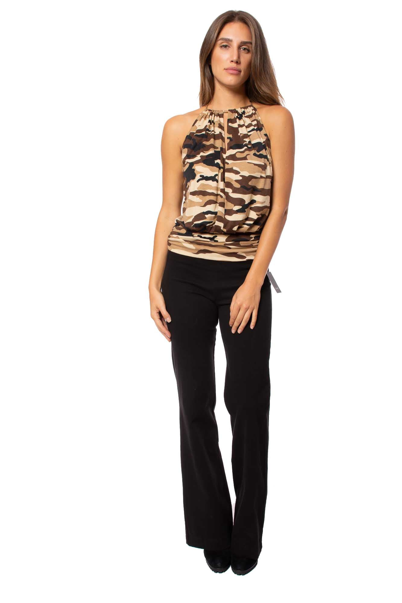 Julian Chang - Atina 20 Drawstring Neck Tie Sleevless Camo Tank (1660, Rambo Camo)