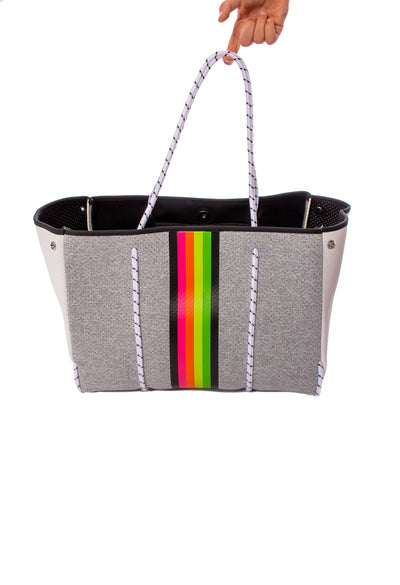 Haute Shore - Greyson Glow Tote Bag with/Tethered Removable Wristlet (Glow, Heather Grey w/Stripes) alt view 5