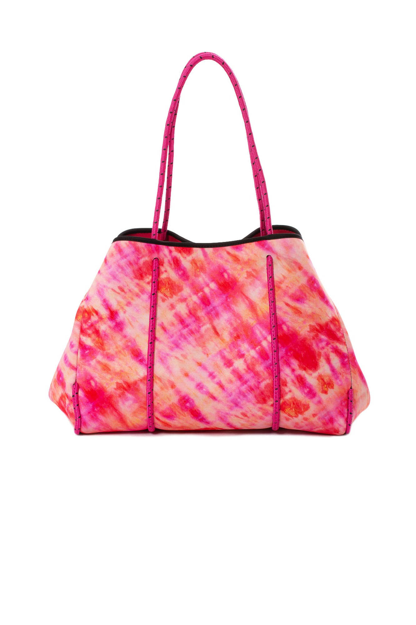 Haute Shore - Greyson Sunset Neoprene Tote Bag w/Tethered Removable Wristlet (GREYSON, Tie-Dye Red & Pink)