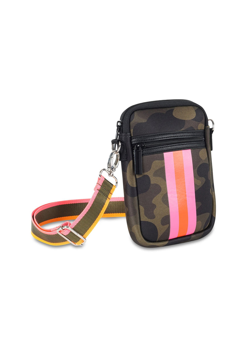 Haute Shore - Casey Showoff Neoprene Cell Phone Case (Casey, Camo Green w/Orange & Pink Stripe)
