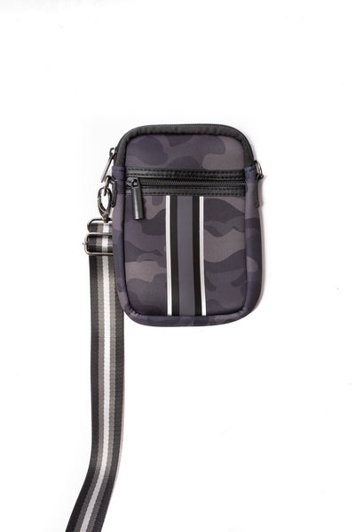 Haute Shore - Casey Elite Cell Phone Crossbody (Casey, Black Camo w/Black & White Stripe)